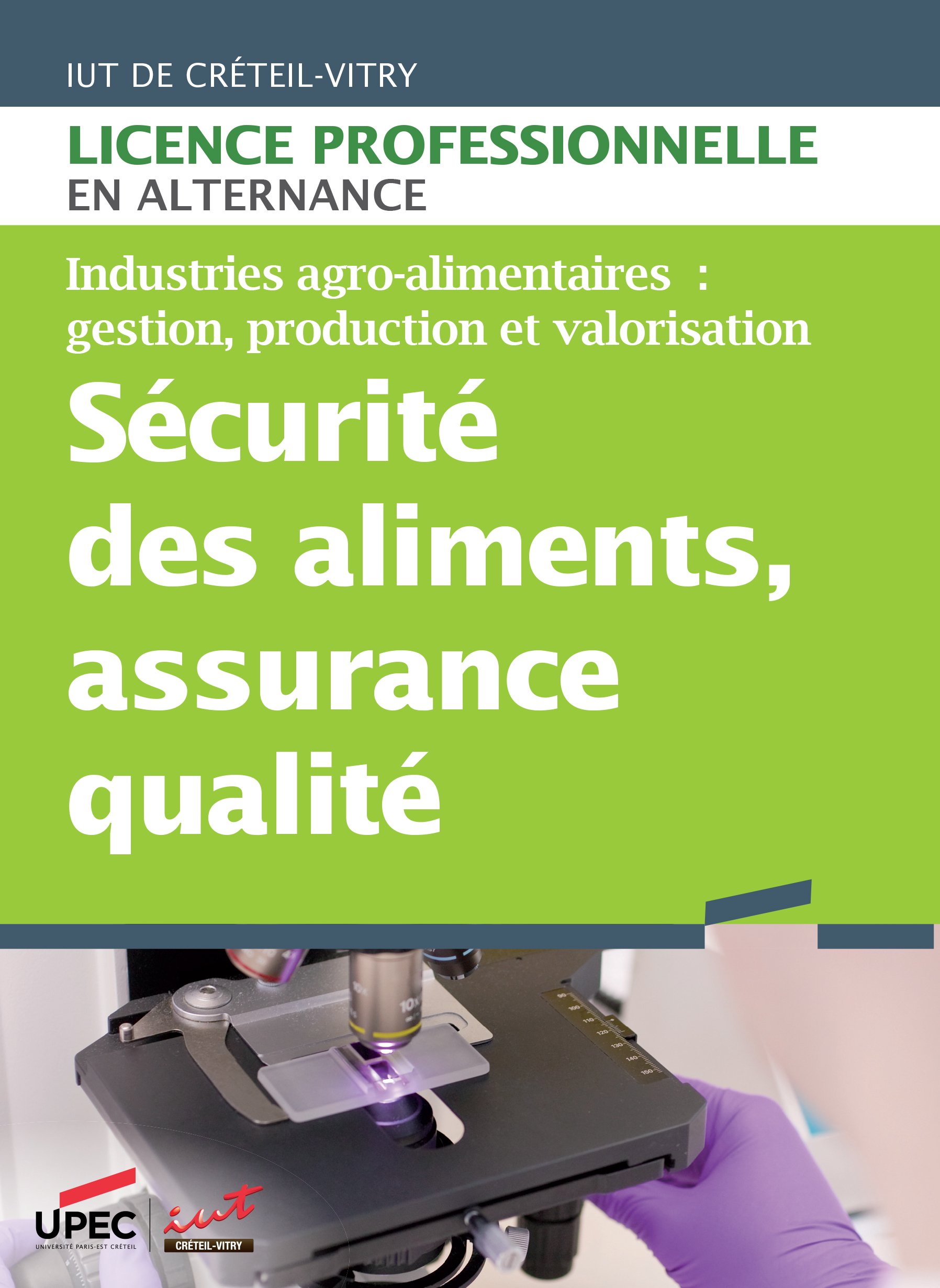 Plaquette licence professionnelle Sécurité des aliments - Assurance qualité