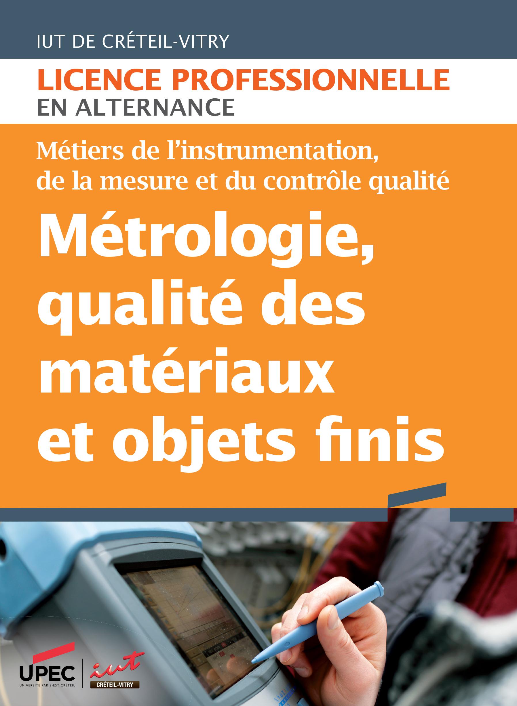 Plaquette licence professionnelle Métrologie, qualité des matériaux et objets finis